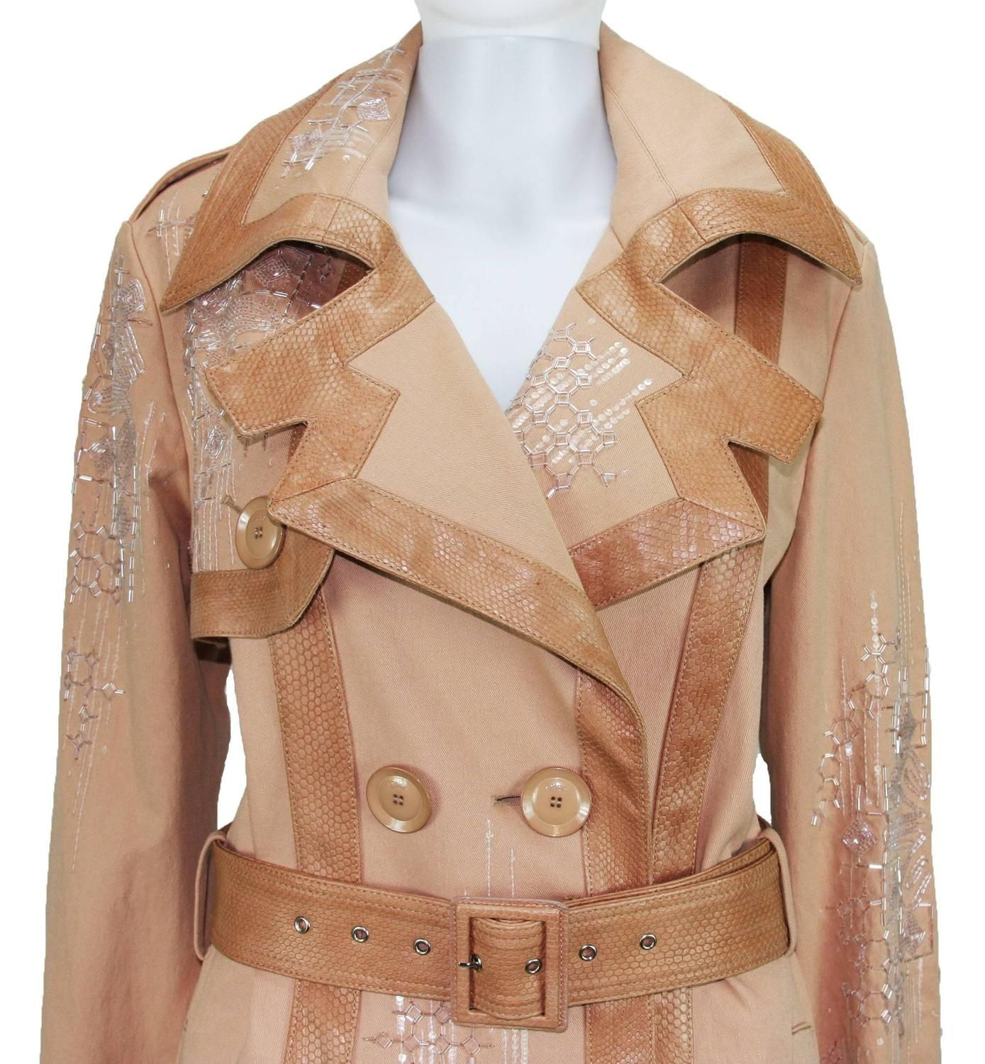 Christian Dior Snake Beads Embellished Trench Coat Fr.40 - US 8 | From a collection of rare vintage coats and outerwear at https://www.1stdibs.com/fashion/clothing/coats-outerwear/