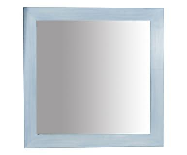 Specchiera in massello di tiglio azzurro, 100x100x3 cm