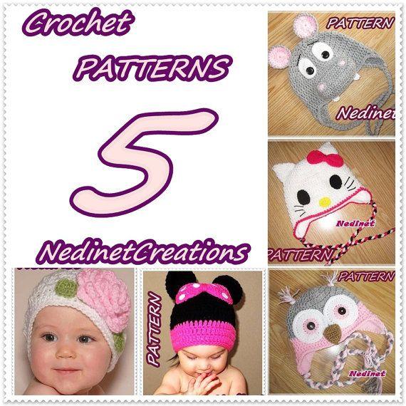 Crochet Pattern Minnie, Kitty, Owl, Hippo, Flower hat PATTERN ...