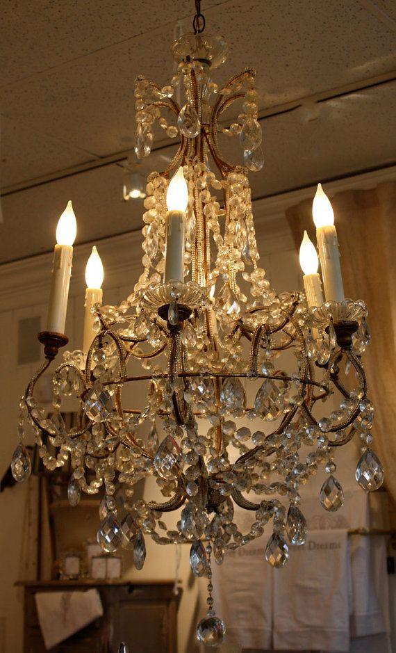 Antique Italian beaded chandelier, - Antique Italian Beaded Chandelier, Light Up Your Life Pinterest
