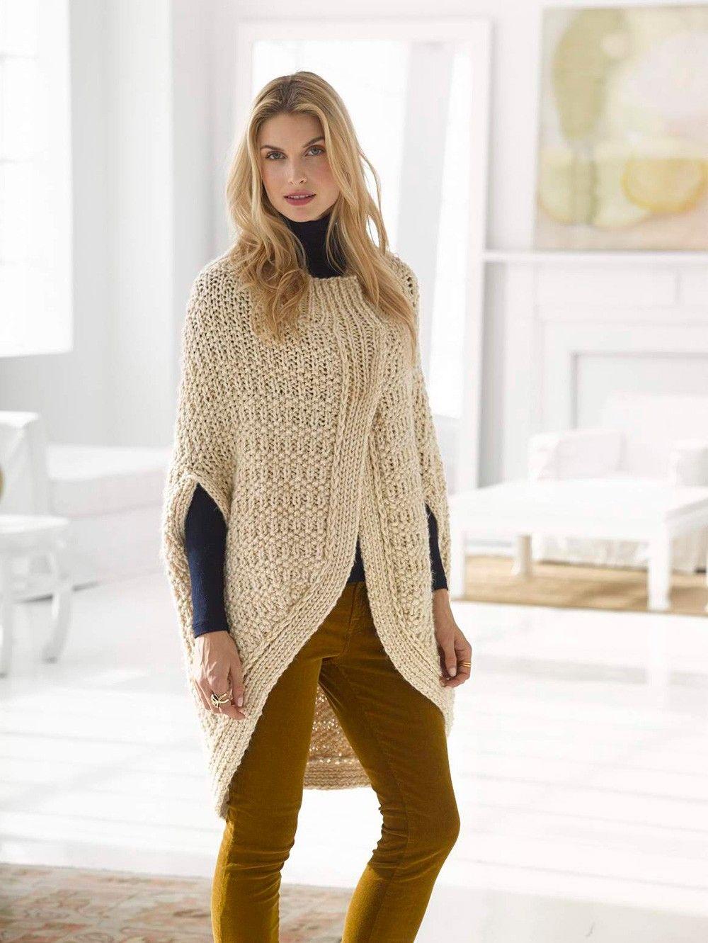 Cocoon Cape Pattern (Knit) - Lion Brand Yarn | Knitting | Pinterest ...