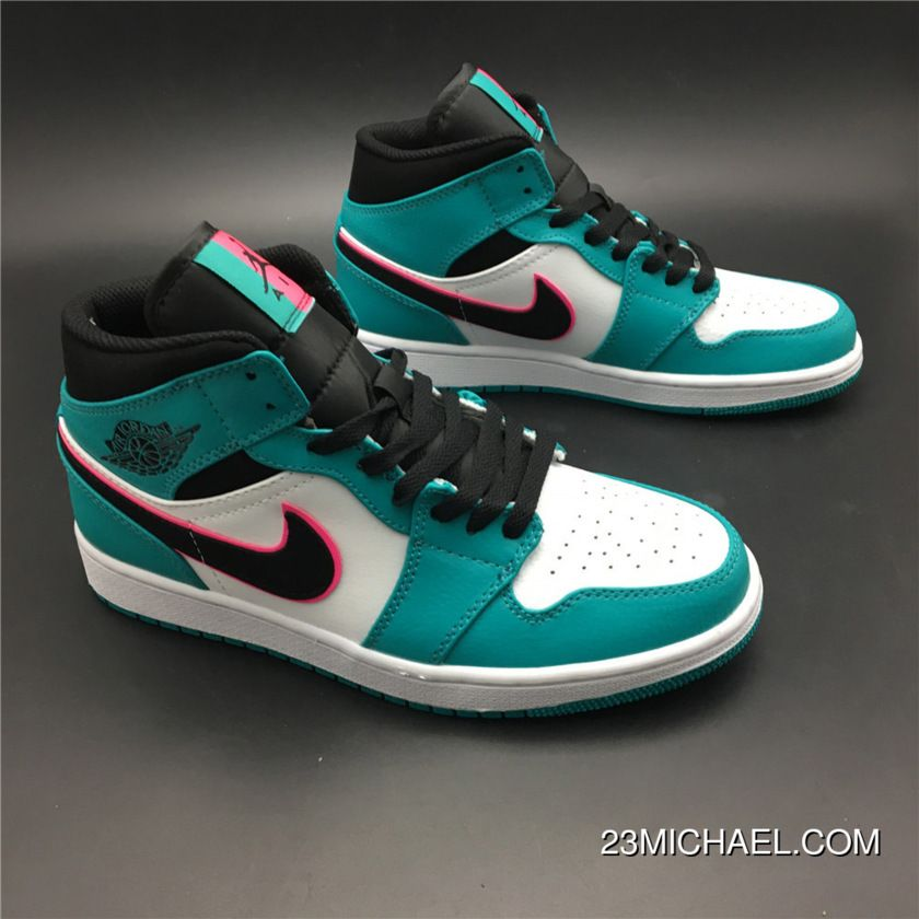 differently 487f7 a02dc New Style Air Jordan 1 Mid South Beach Turbo Green Black-Hyper Pink-Orange  Peel