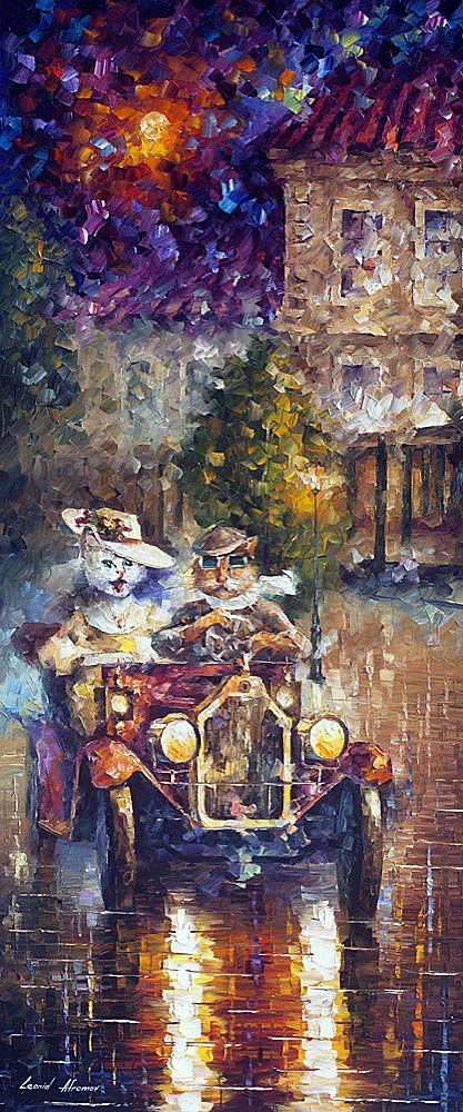 NEWLYWEDS — Oil Painting on Canvas by Leonid #Afremov _____________________________ #Cat #Car #Colorful #FineArt