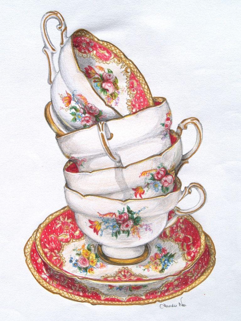 000 Vintage printable Tea cup drawing, Tea illustration, Tea