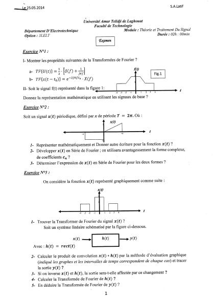 Examen Corrige Theorie Et Traitement Du Signal 2014 Sheet Music