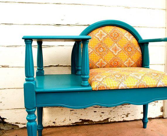 bright teal sunshine vintage writing desk chair