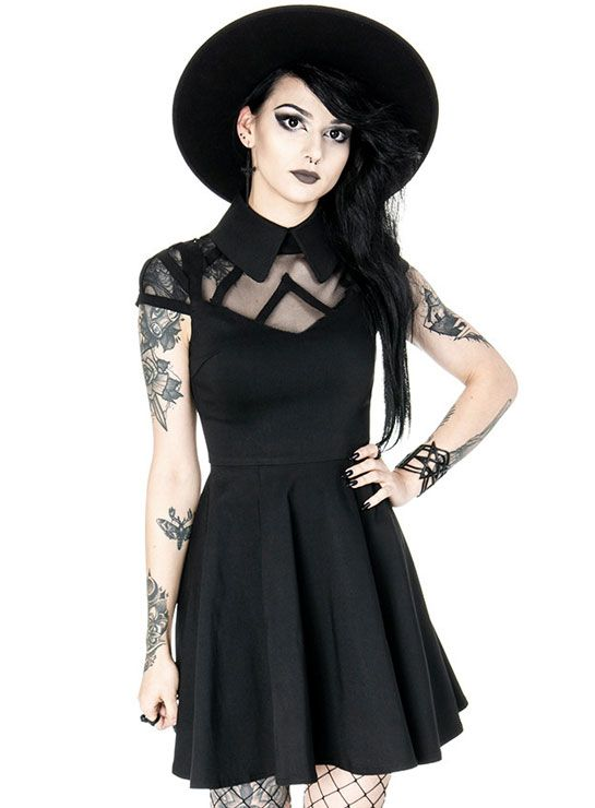 Tiberio Dark Side Wednesday Collar Black Mesh Neckline Skater Dress #casualgoth