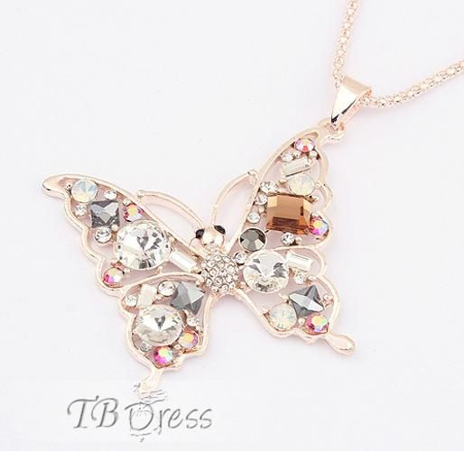 Bright Butterfly Shaped Alloy with Rhinestone Necklace