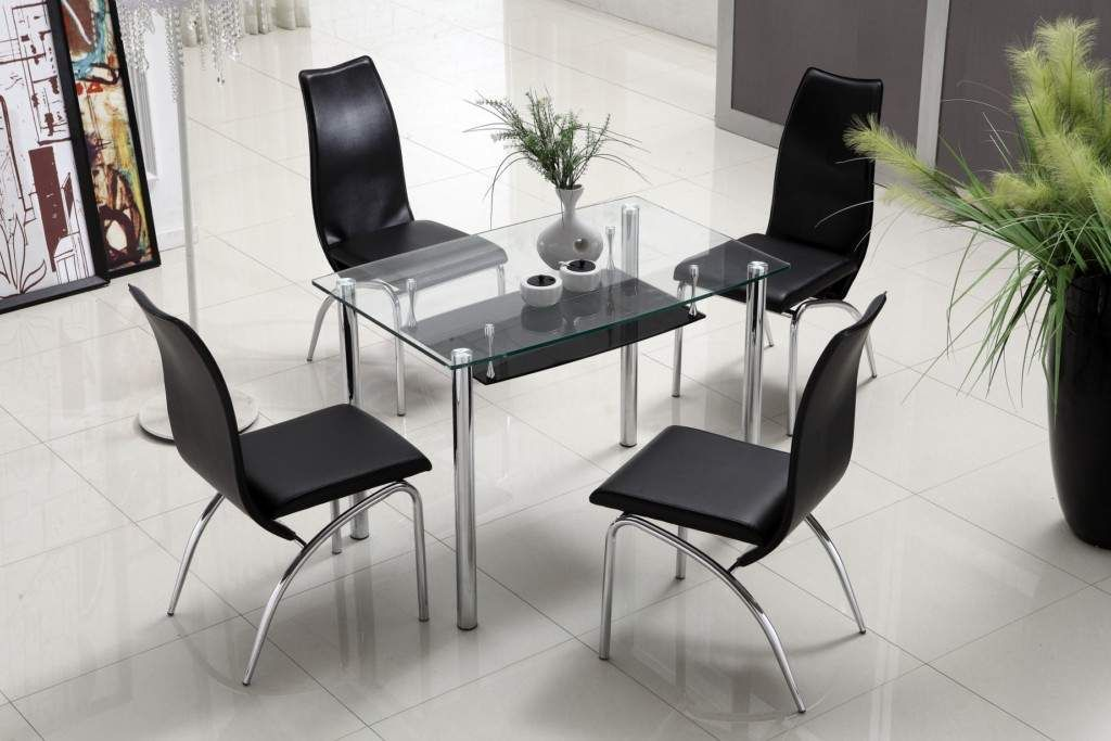 Compact Modern Dining Table With Shelf Storage Under Glass Top
