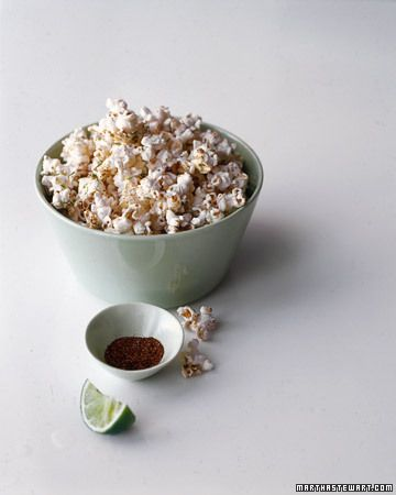 Martha Stewart Chili-Lime Popcorn. Why don't I eat more popcorn? I love popcorn!