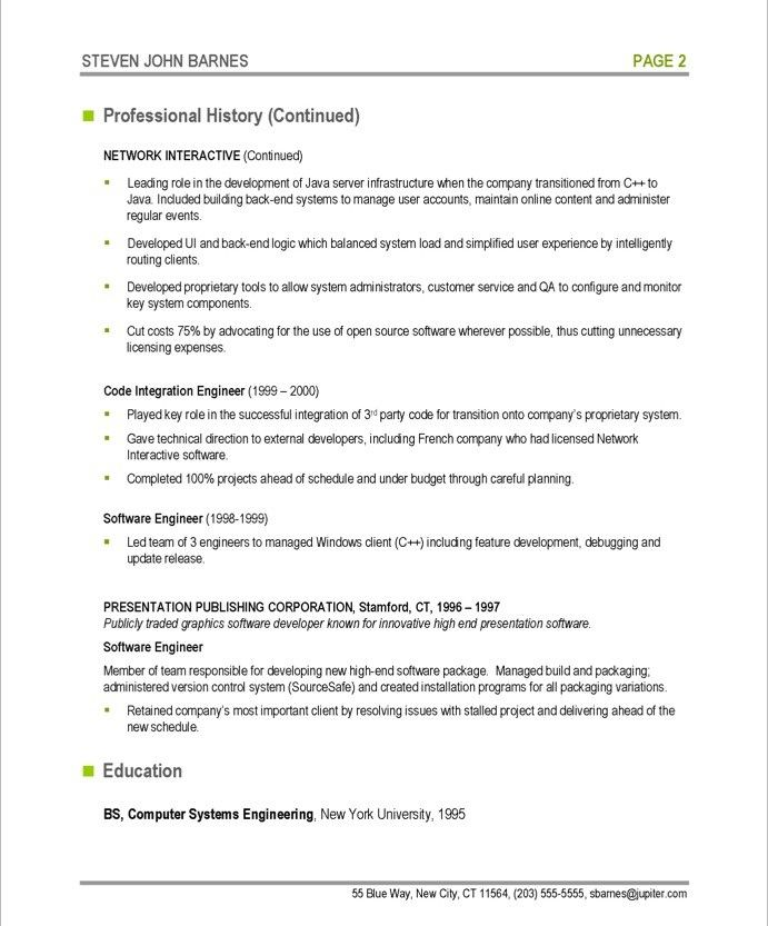 Software Developer-Page2 IT Resume Samples Pinterest Free - software developer resume example