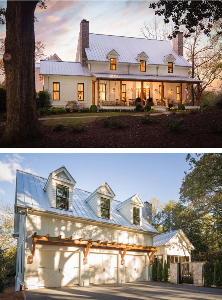 A Delightful Modern Farmhouse With Southern Charm In Georgia Metal Roofs Farmhouse Metal Roof Houses House Styles
