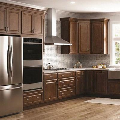 Shop Hampton Bay Hampton Cognac Cabinets | Kitchen cabinet ...