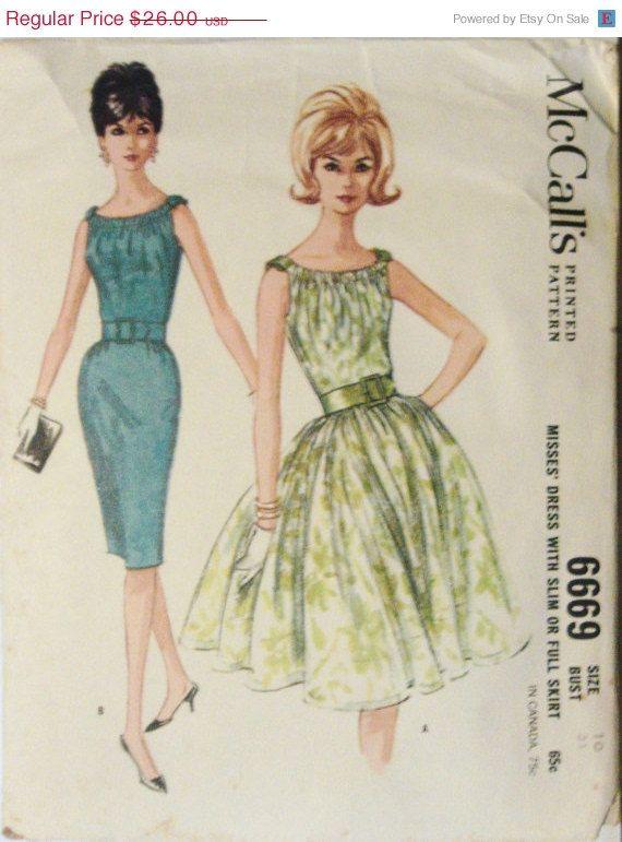 Sale Sale Sale 1960s Vintage Sewing Pattern McCalls 6669 Misses Full ...