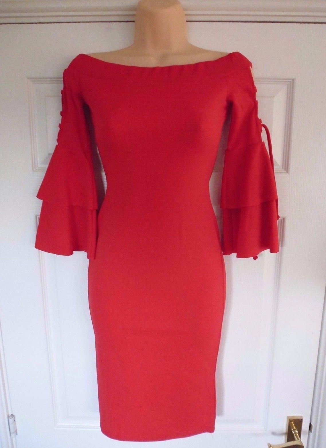 Ex quiz red lace up frill sleeve bardot midi dress uk sizes