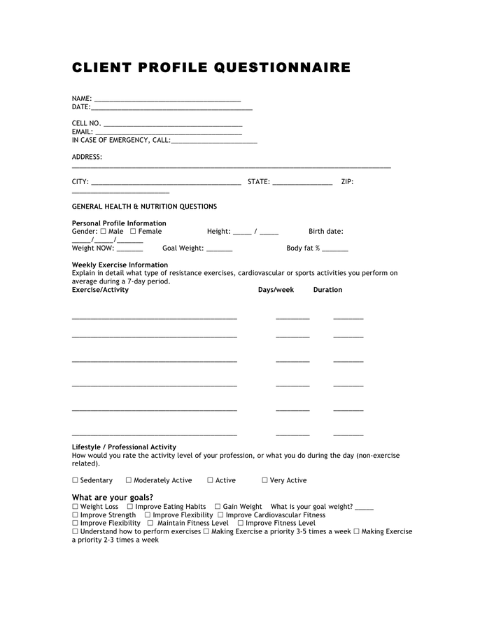 Awesome Interior Design Client Profile Questionnaire Design