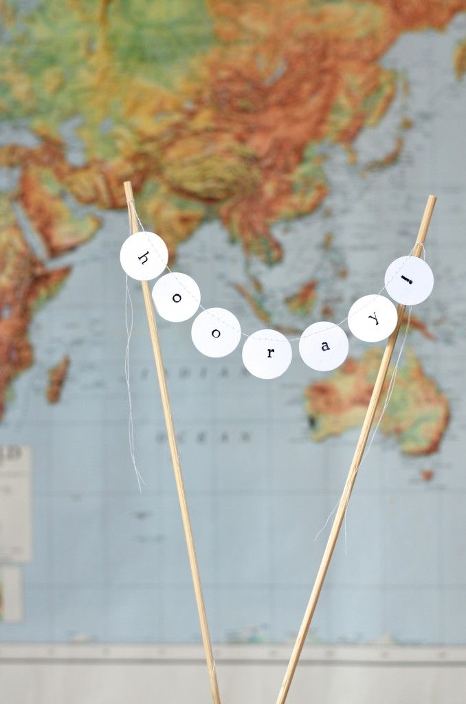 HOORAY! hand stamped cake garland, mini dessert bunting $6 from the Path Less Traveled