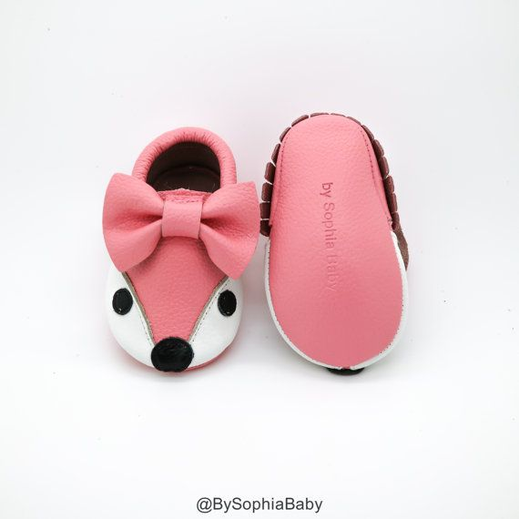 7bc8edf3d Baby Moccasins Baby Light Pink Fox Moccasins Baby Leather