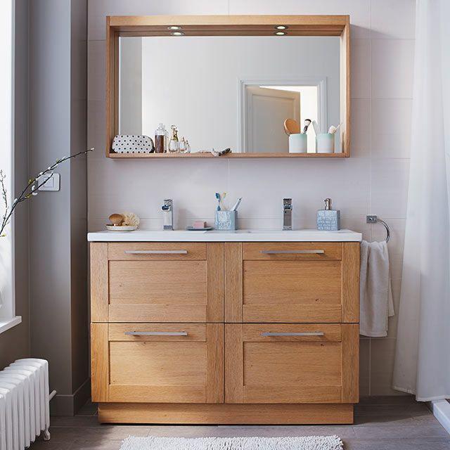 Meuble de salle de bains chêne 120 cm Isle - CASTORAMA ...
