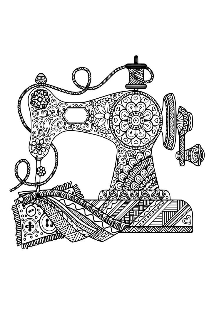 Zentangle Antique Sewing Machine Svg Pdf Png Eps And