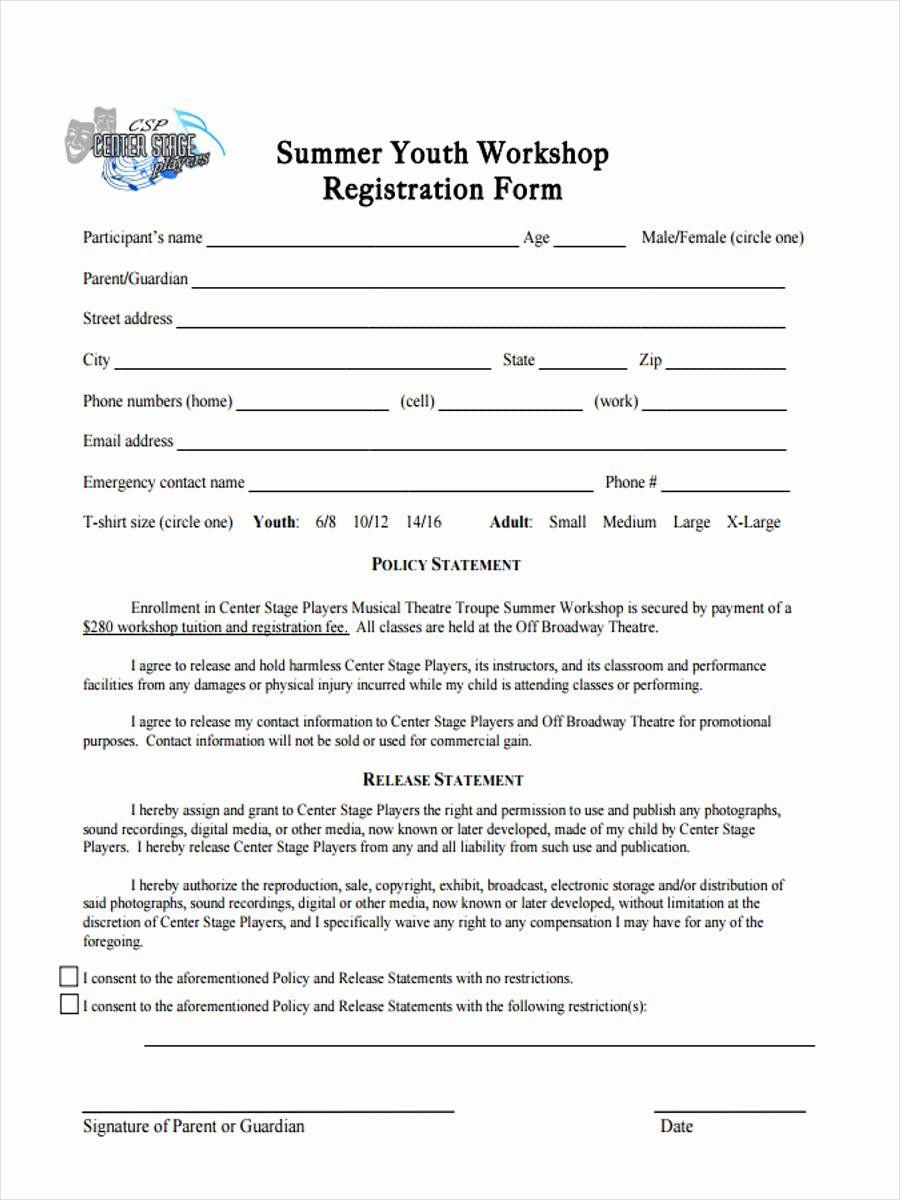 Dance Registration Form Template Inspirational 10 Workshop Registration Forms Free Sample Example Registration Form Business Template Professional Templates