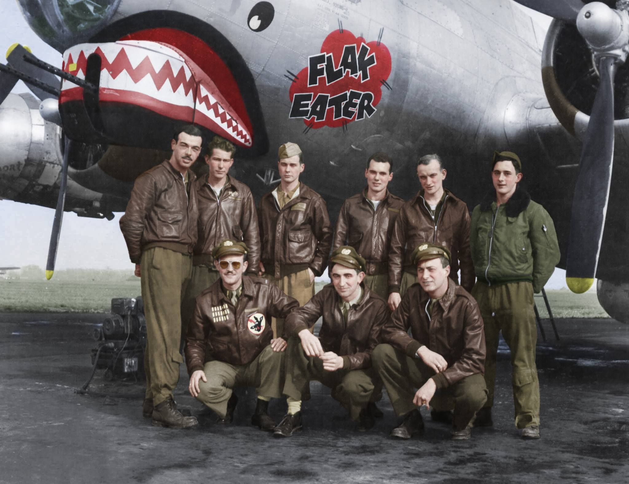"""WWII COLOR PHOTOGRAPH 11X14 OF B-17 BOMBER /""""NINE O NINE /"""" NOSE VIEW USAAF LOOK"""