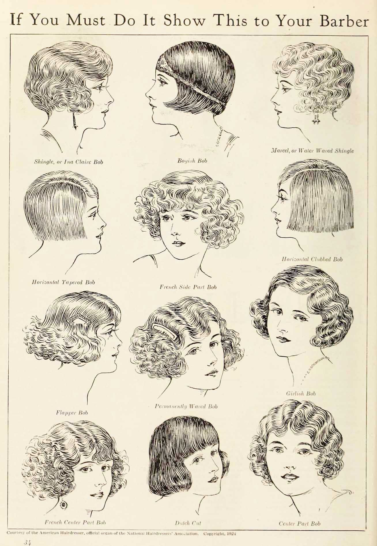 American Hairdresser Guide To 1920s Hairstyles Published In 1924 Courtesy Of National Hairdresser S Associatio Flapper Hair 1920s Hair Vintage Bob Hairstyle