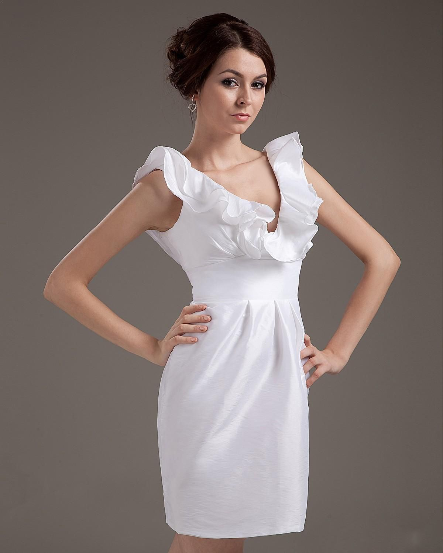 Sexy taffeta ruffle sweetheart short bridal gown wedding dress