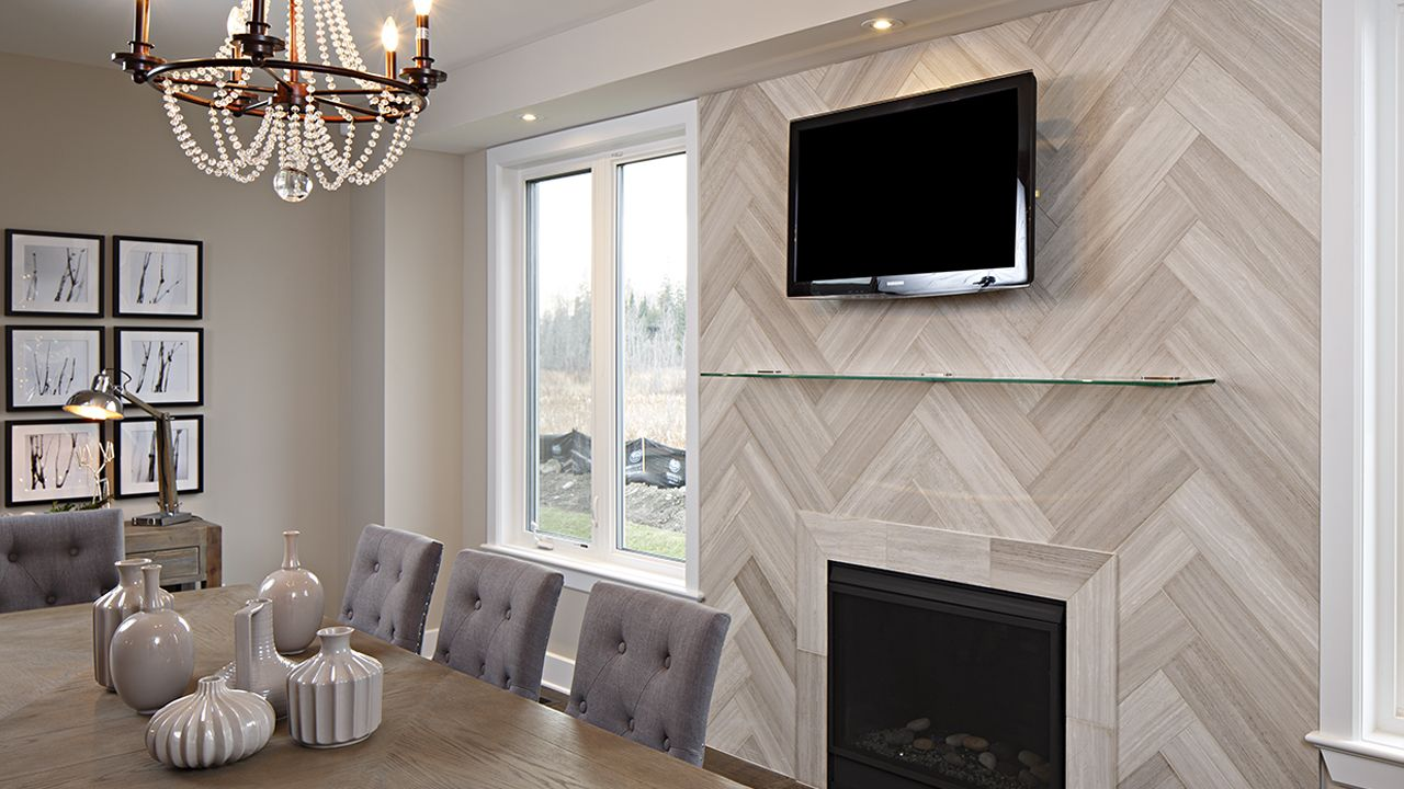 Plank 6x24 White Birch Planks Herringbone Fireplace Image
