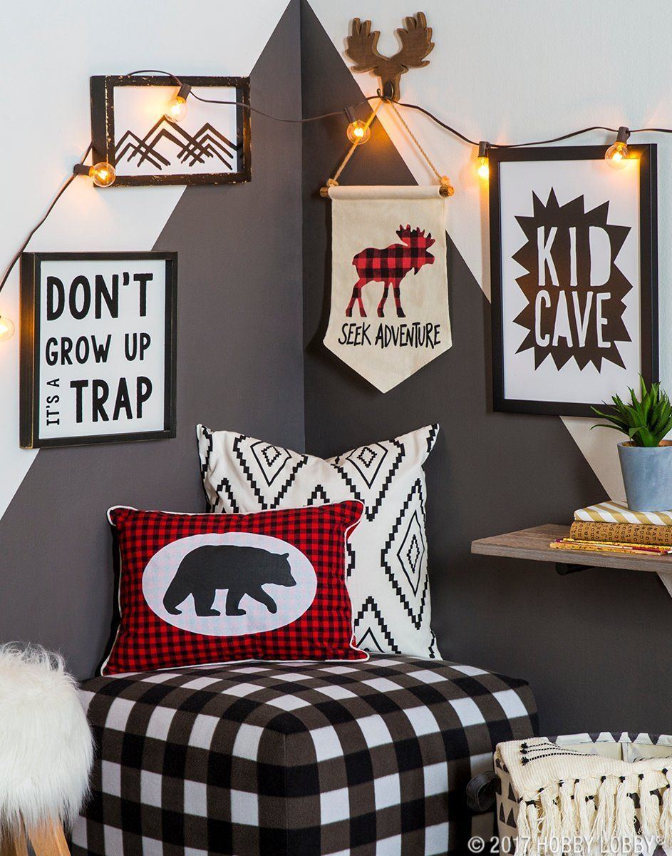 Couple Fun Patterns With Woodland Decor For A Kid Cave That Really Pops Kid Room Decor Boys Room Decor Toy Room Decor