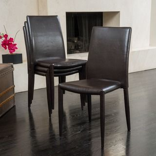 Christopher Knight Home Comstock Bonded Leather Stackable Dining Chair Set Of 4