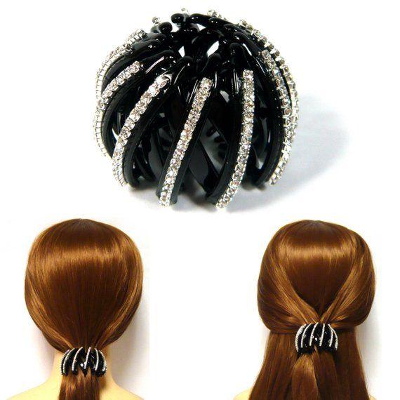 Sparkly Silver Crystal Rhinestone Decorative Expanding Black Plastic Ball  Bun Ponytail Holder Cover Hair Cuffs 71874dcc65f
