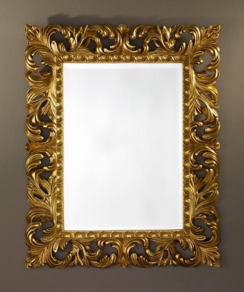 Gold decorative framed bevelled wall mirror by deknudt for Unique mirror frames