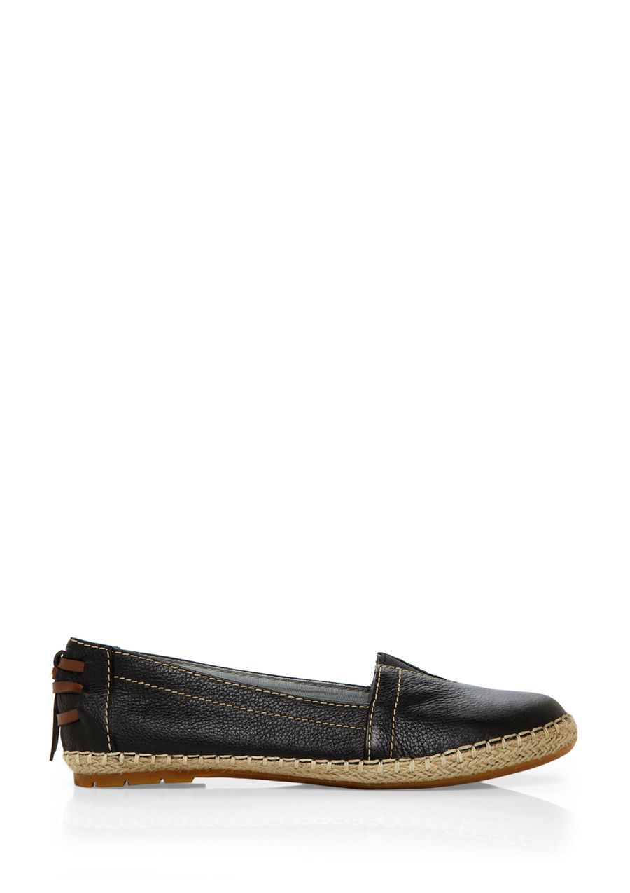 Coppelia A-Line Loafer; Round toe; Vamp features triangular elastic gore; Features contrast stitch trimming; Braided jute outsole; Interwoven tassel accent on heel; Slip-on style RubbersoleWomen #Shoes