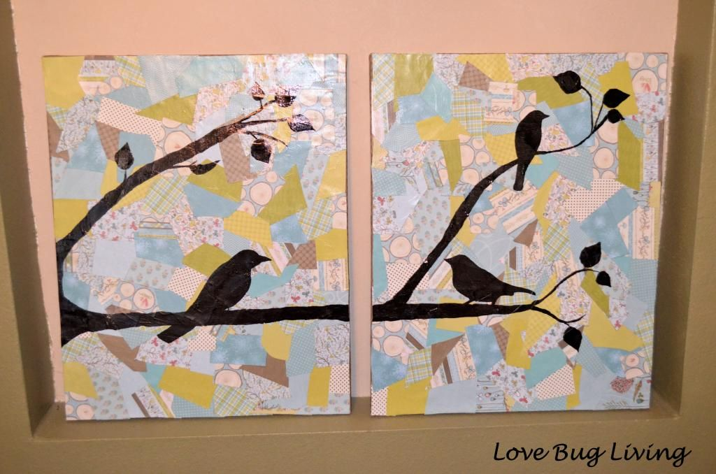 Scrapbook mod podge collage bird canvas art
