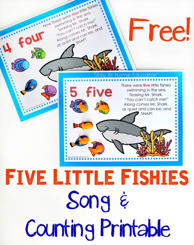 FREE Five Little Fishies Song and Counting Printable | Counting ...