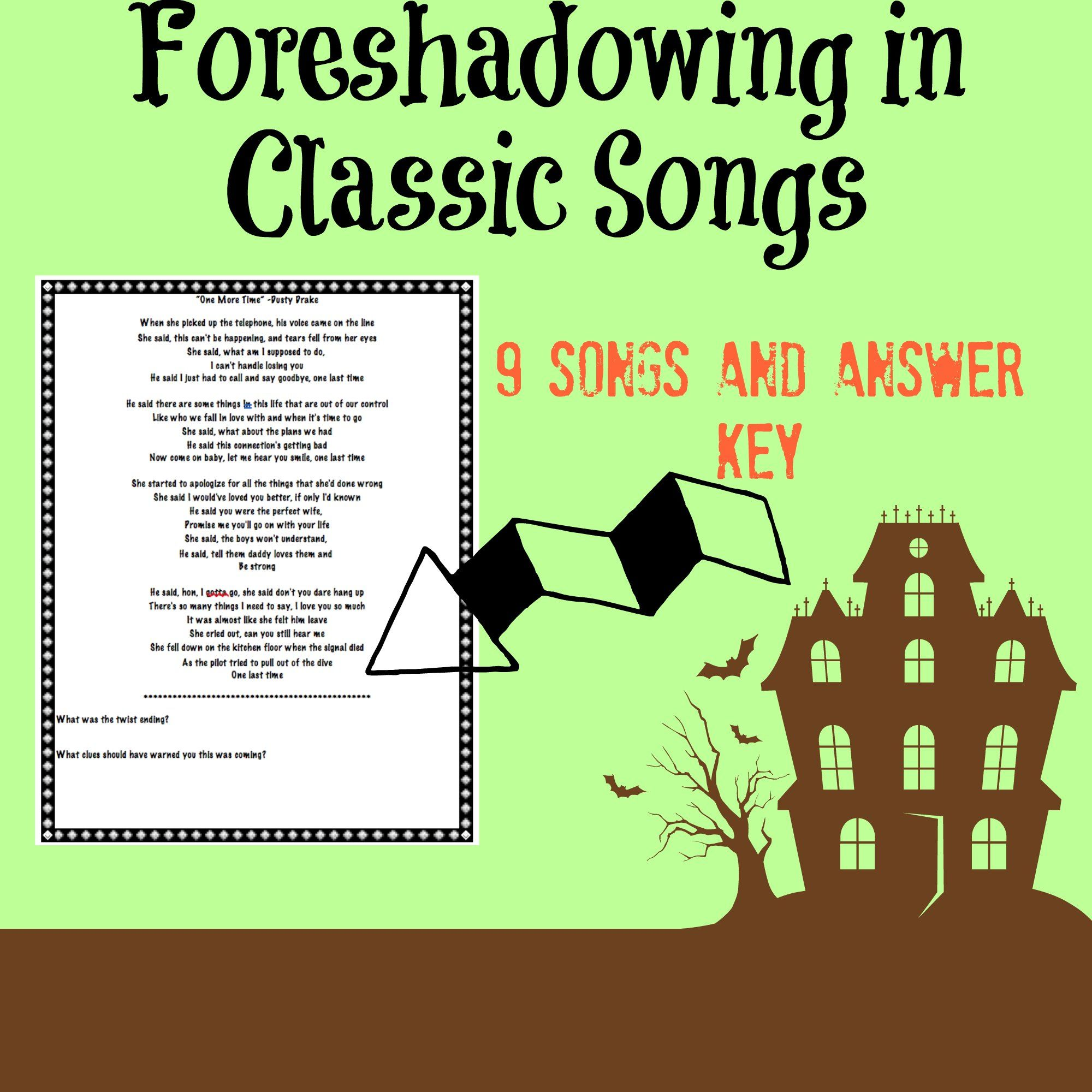 Identifying Foreshadowing In Classic Songs With Answer Key With