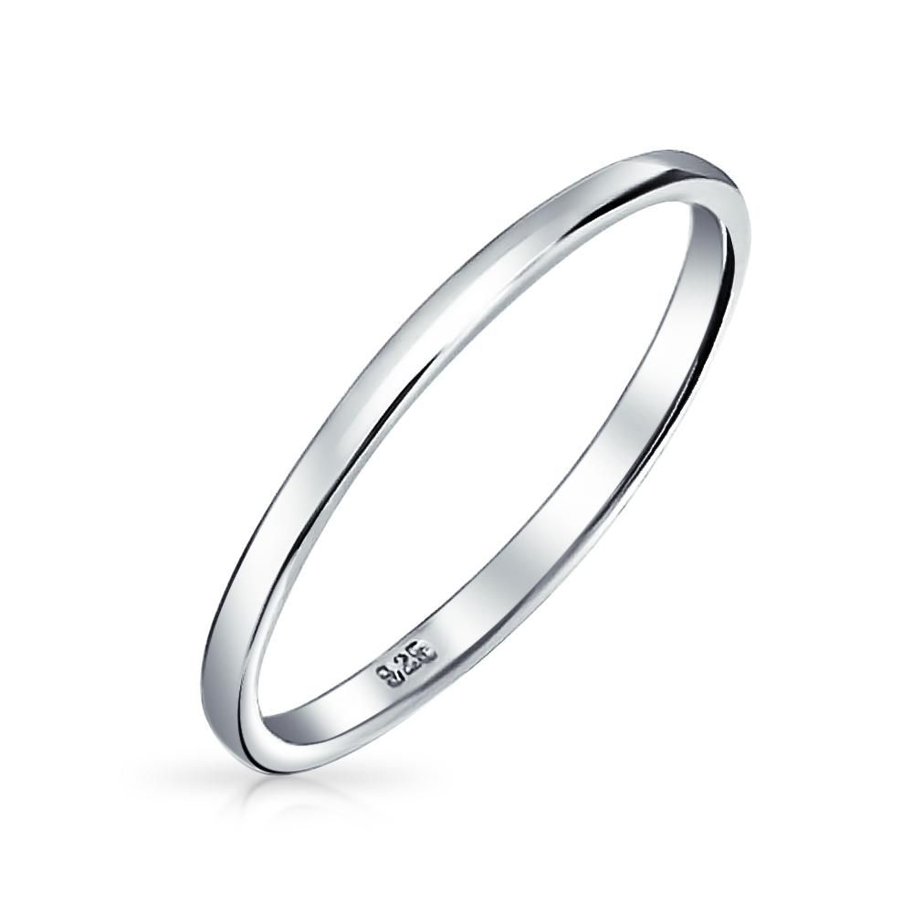 Thin Stackable 925 Sterling Silver Couples Wedding Band Rings 2mm In 2020 Silver Wedding Bands Sterling Silver Wedding Band Silver Rings Simple