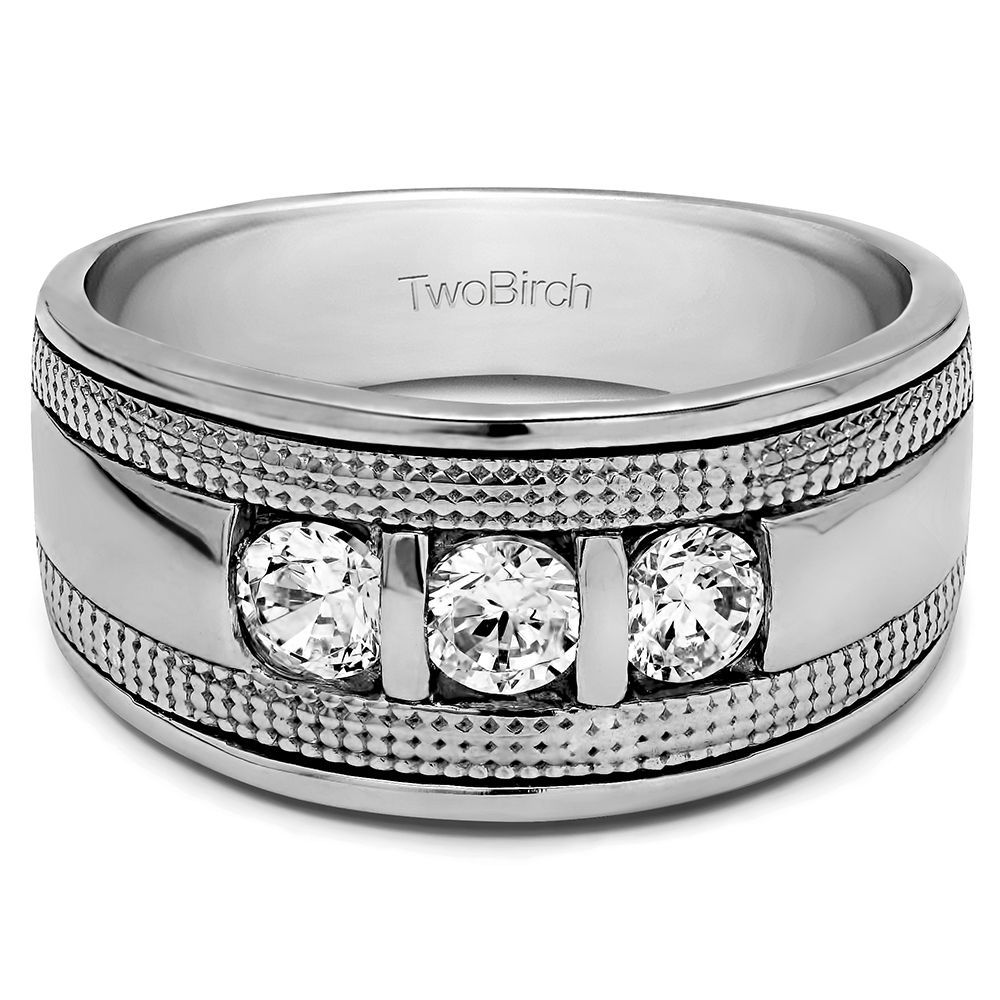 10k Gold Men s Wedding Fashion Ring with Cubic Zirconia (0.5 Cts.) (10k 0d895c63197