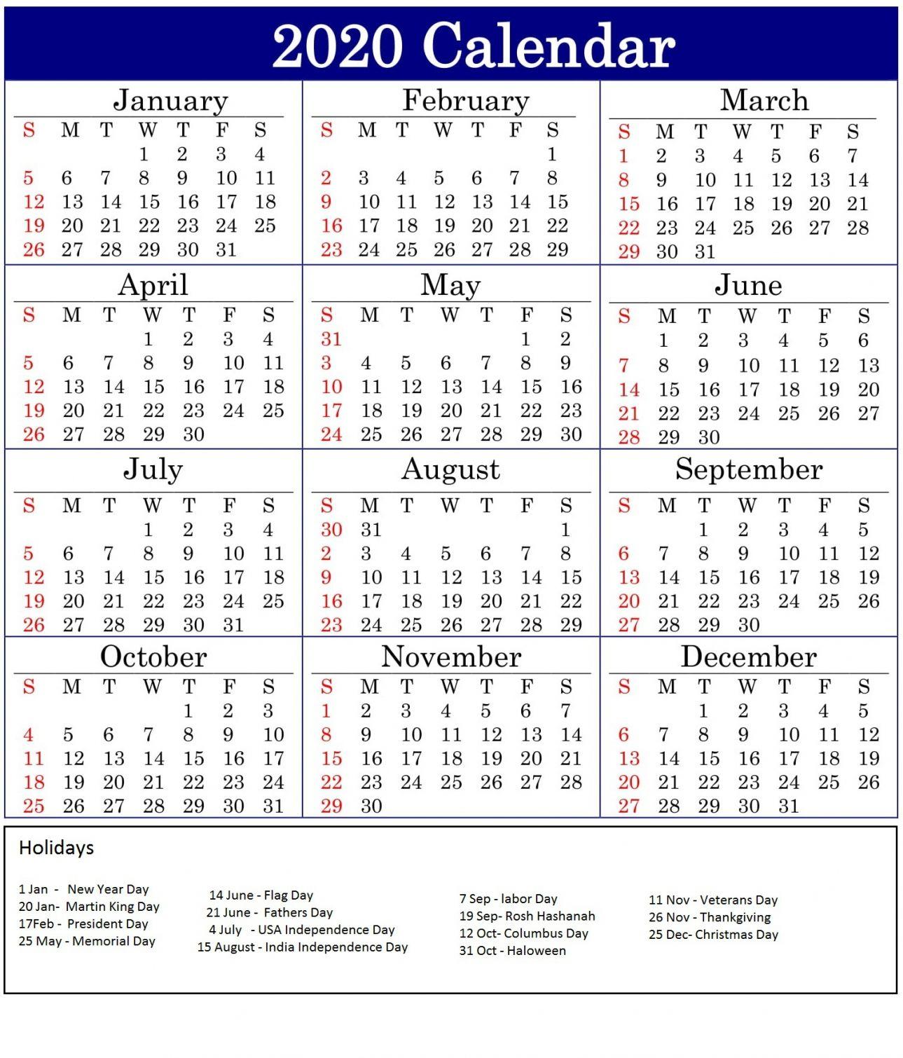 2020 Printable Calendar One Page Di 2020