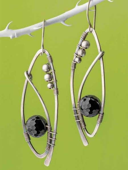 Tuxedo Earrings Wire Working Project Download is part of Wire jewelry, Wire work jewelry, Wire wrapped jewelry, Wire jewelry making, Diy jewelry, Metal jewelry - The asymmetrical placement of the beads and the subtle curve in the frame make these earrings just different enough! Made with faceted black onyx and sterling silver beads wirewrapped with silver Required Materials  16
