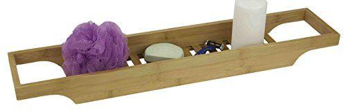 Home Basics Bamboo Bathroom Accessory Set (Bathtub Caddy)...