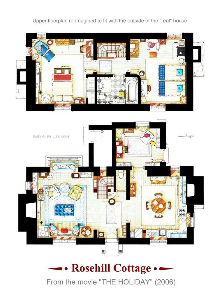 Rosehill Cottage From The Holiday Poster Version B By Nikneuk Cottage Floor Plans English Cottage Interiors Floor Plans