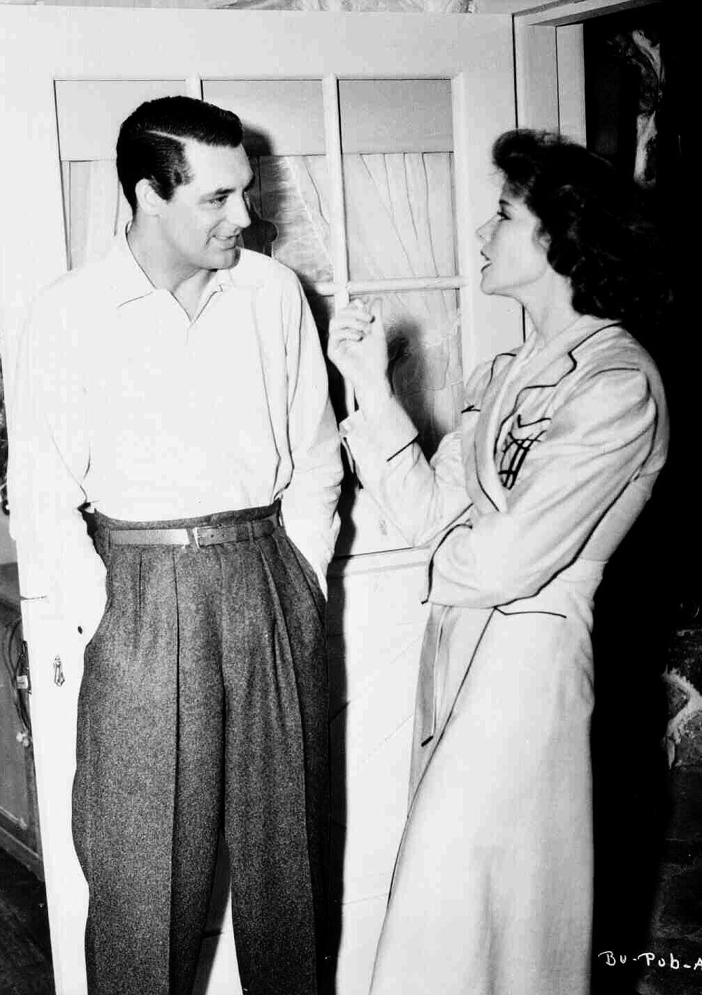 """Cary Grant y Katharine Hepburn en el rodaje de """"La Fiera de mi niña"""" (Bringing Up Baby), 1938"""