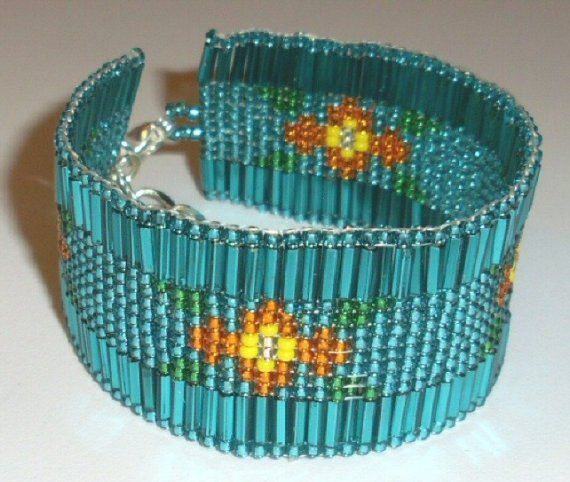 Native American Beaded Bracelet  Prairie Rose in Teal by jstinson, $42.00