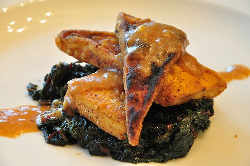 elvisfried tofu with gravy and braised chard with images