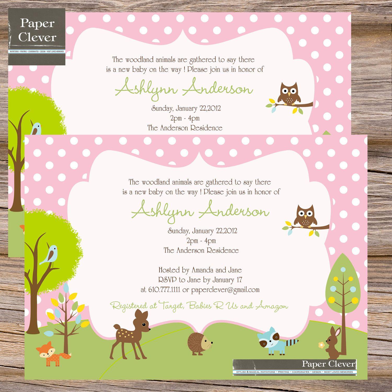 Gmail themes dots - Girls Invitation Woodland Theme Baby Shower Or Birthday Digital File Printable