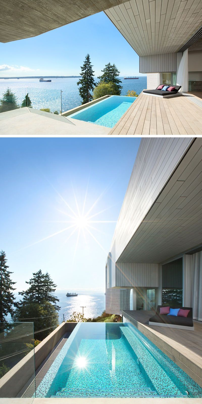 A concrete platform off the wooden deck of this modern house, guides you down to the small swimming pool (plunge pool), that is perfect for enjoying the ocean views.