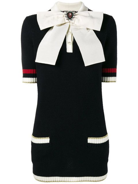 e03bae365 Shop Gucci bow brooch knitted top. | i like this style | Gucci dress ...
