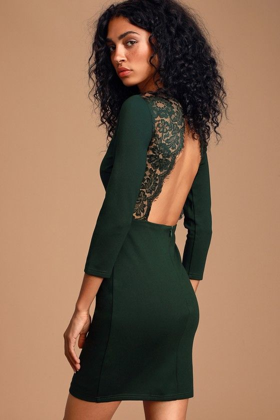 Lulus | Love Language Forest Green Lace Bodycon Backless Dress | Size X-Small | 100% Polyester #shortbacklessdress